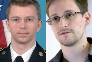 Bradley Manning (U.S. Army) and Edward Snowden (Laura Poitras / Praxis Films [CC-BY-3.0])